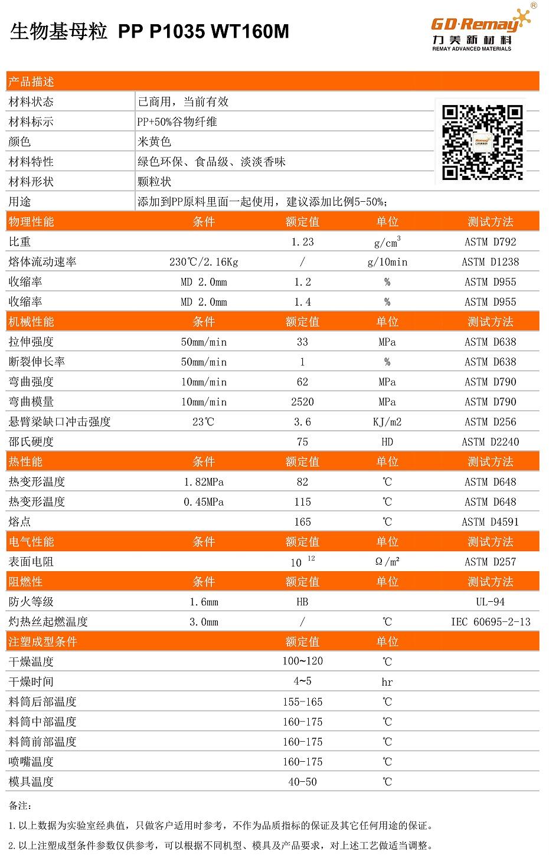PP谷物纤维母粒物性表